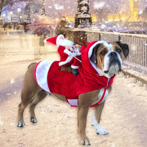 Christmas Dog Clothes Santa Claus Riding Deer Dog Costumes Funny Pet Outfit Riding Holiday Party Dressing Up Clothing For Dogs