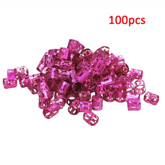 100 Pcs/set 7 Colors Mixed Beads Adjustable Hair Braids Dreadlock Beads Adjustable Hair Braid Rings Cuff Clips Tubes Jewelry