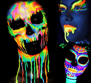Fluorescent Neon Face Paint Costume for Halloween 2019