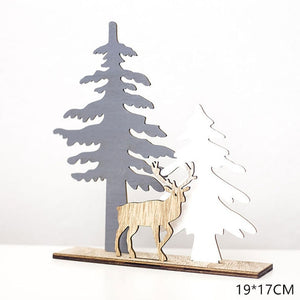 2020 New Year Natural Xmas Elk Wood Craft Christmas Tree Ornament Noel Christmas Decoration for Home Wooden Pendant Navidad Gift