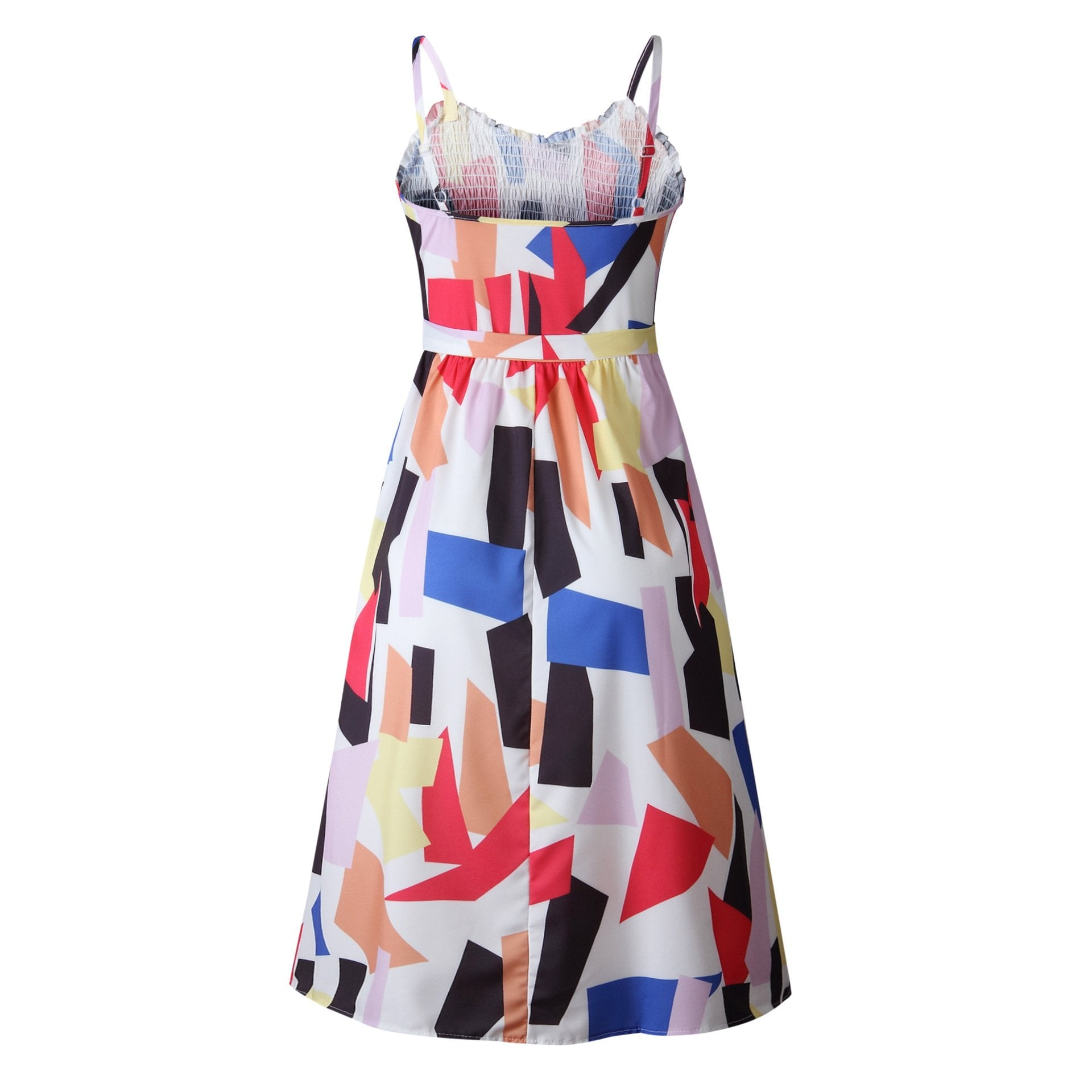 Women Summer Beach Dress Fashion Sling Square Collar Casual Sleeveless Printed Button Female Mid-Calf Dresses