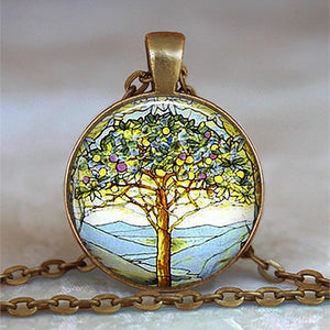 Tree Of Life Glass Cabochon Statement Necklace