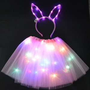 Halloween LED Glow Cat Bunny Ear Crown Headbands | LED Light Net Skirt for Kids Prop