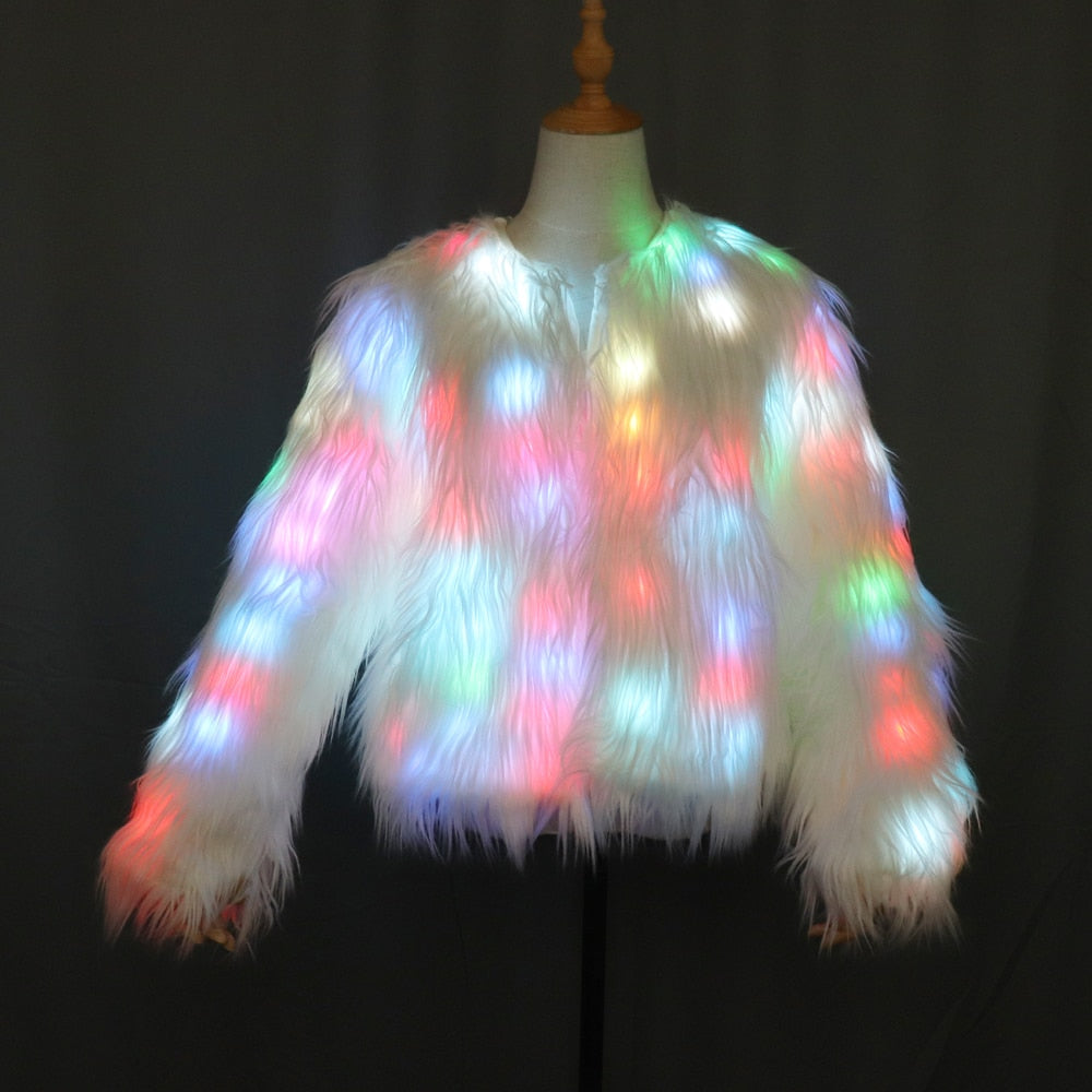 LED Fur Warm Jacket Halloween Party Costume for Women