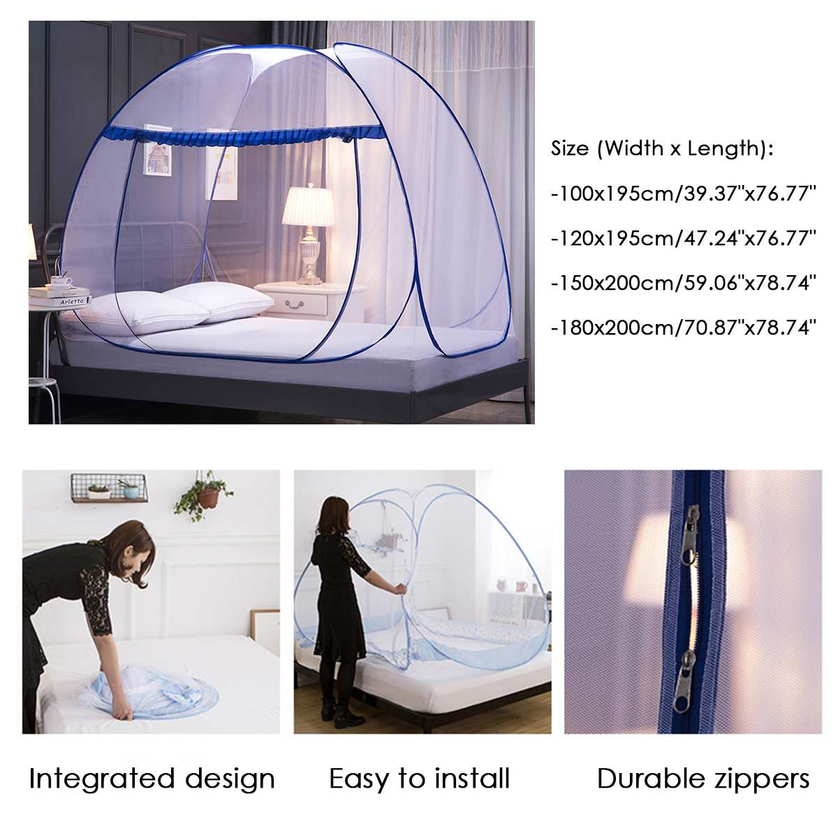 Portable Automatic Pop~ Up Mosquito Net Installation-free Foldable Student Bunk Breathable Netting Tent Mosquito Net Home Decor