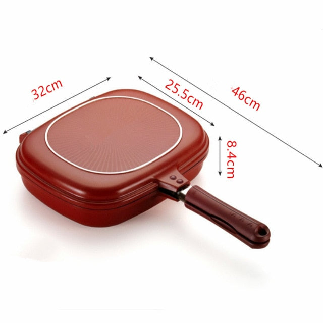 Skillet Grill Pan Double-sided Non-sticky Baking Tray for Kitchen