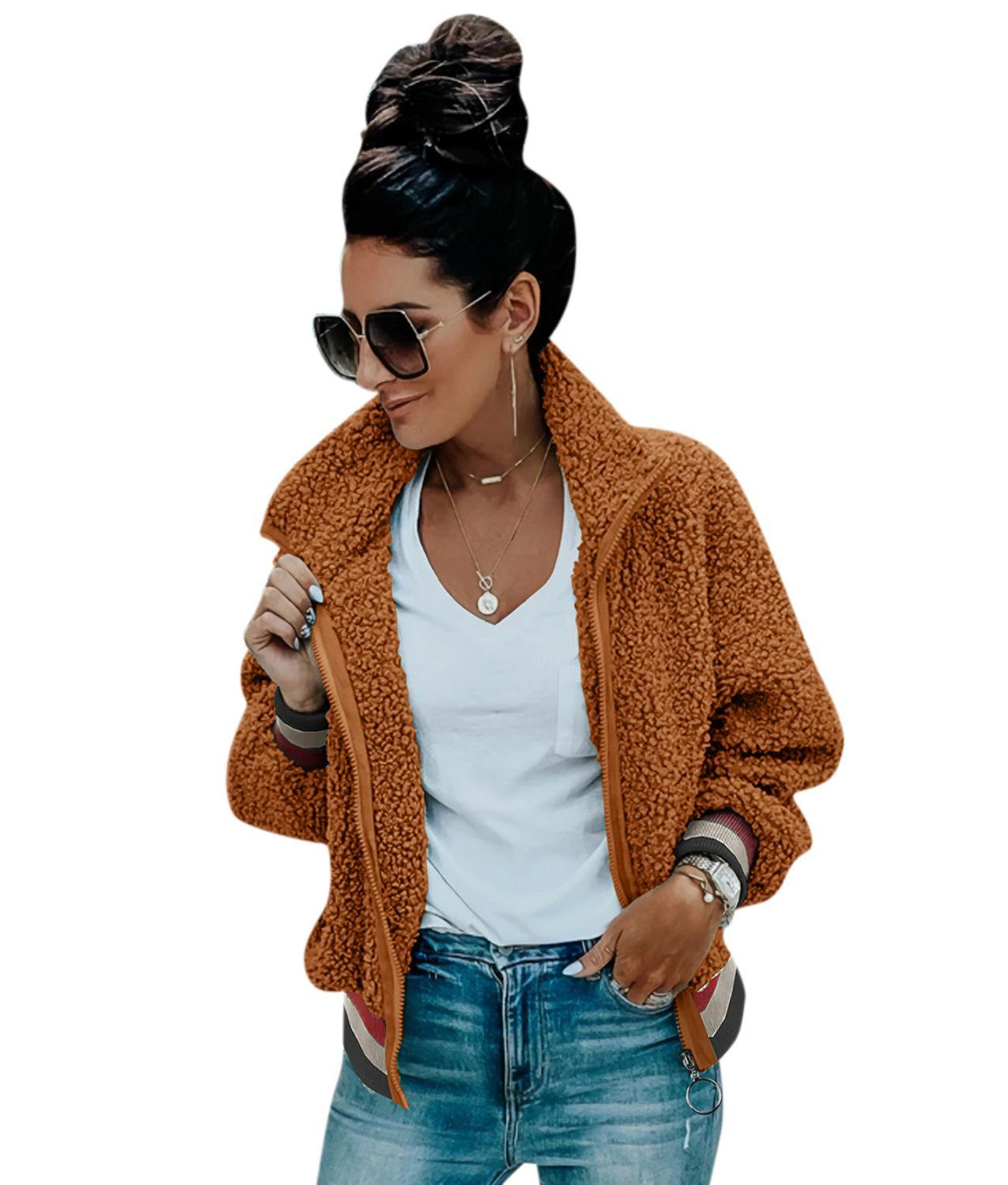 Autumn Color Patchwork Sports Coat Turn Down Collar Lambswool Zipper