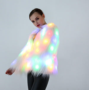 White LED Fur Jacket | LED Light Coat Prop
