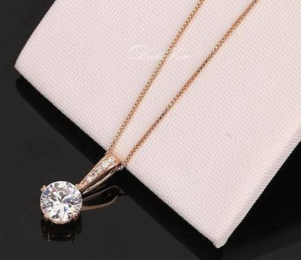 Zirconia Chain Necklaces & Pendants (Rose Gold Color) - PRETTY BUYERS