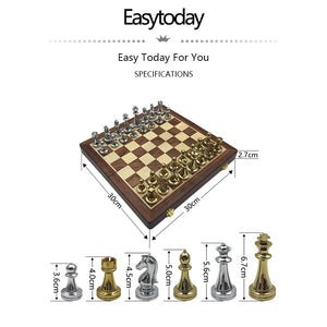 Glossy Metal Chess Pieces Wooden Board