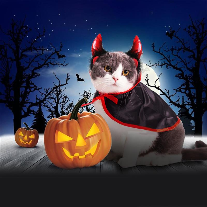 Vampire Cloak with Horns for Pets | Halloween Costume for Cats & Dogs