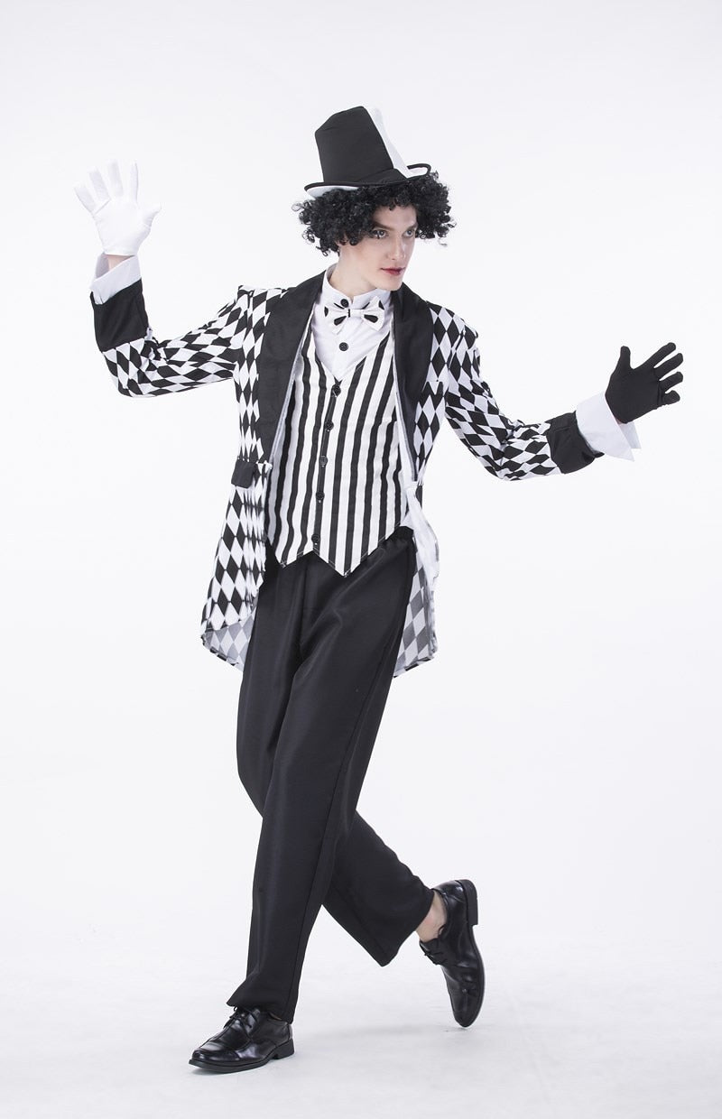 Mad Hatter Classic Circus Clown Costume For Man | Halloween Jester Costume for Men