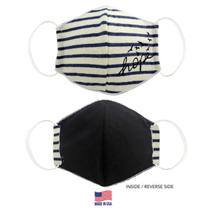3D NAVY BLUE STRIPES-HOPE FABRIC FACE MASK
