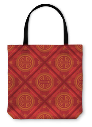 Tote Bag, Oriental Chinese Pattern Tile Wallpaper