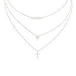 Triple Drop Necklace - Infinity, Circle and Cross
