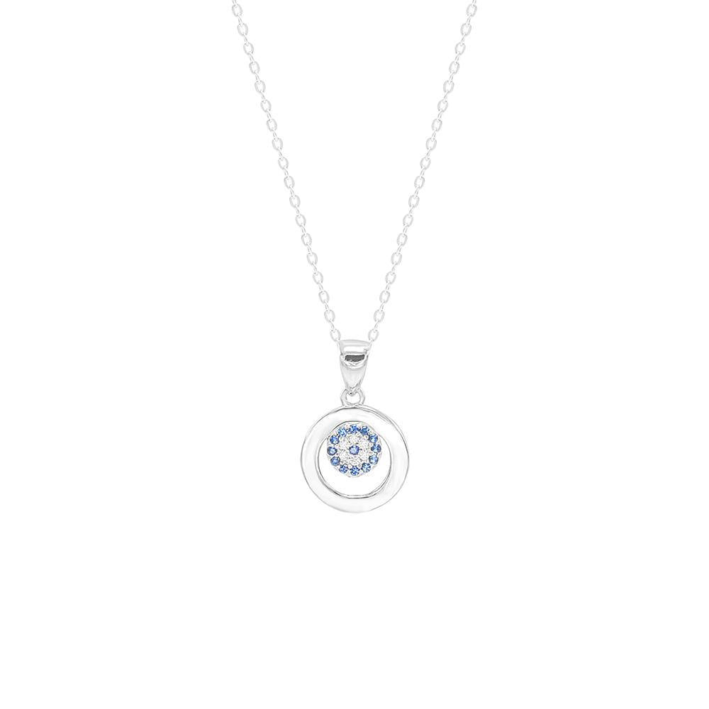 Circle and Evil Eye Sterling Silver Necklace
