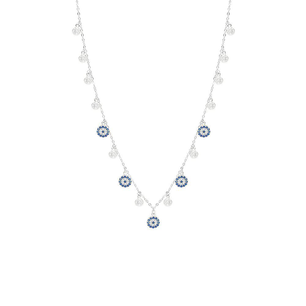 Adjustable Sterling Silver Choker - Dainty Evil Eyes and Crystal Drops