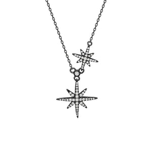 Double 8-Point Star Sterling Silver Necklace