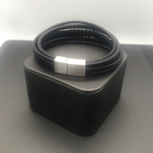 5 Strand Leather and Stainless Steel Bracelet