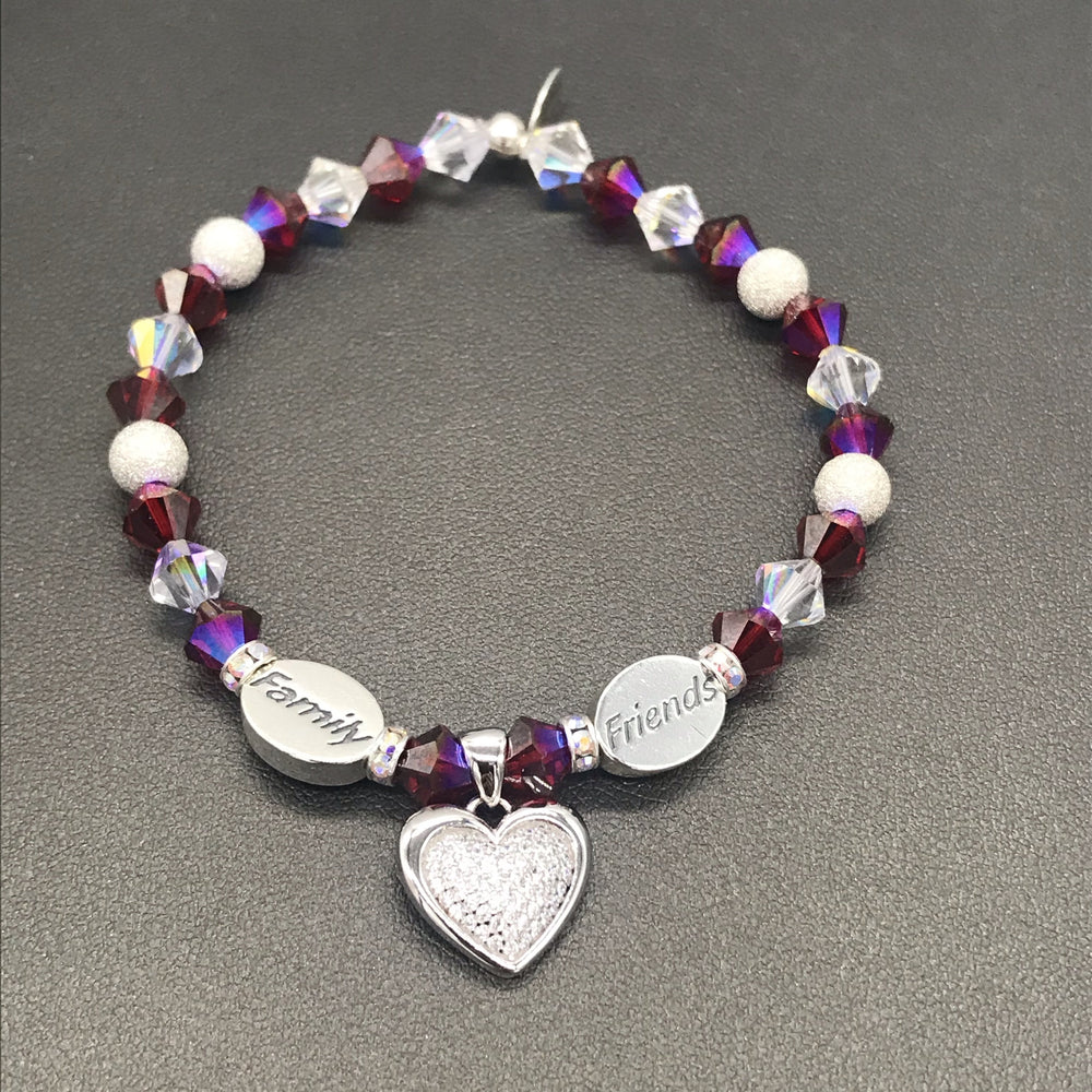 My Voice Bracelets: FAMILY, FRIENDS with Heart Charm in Burgundy Stardust