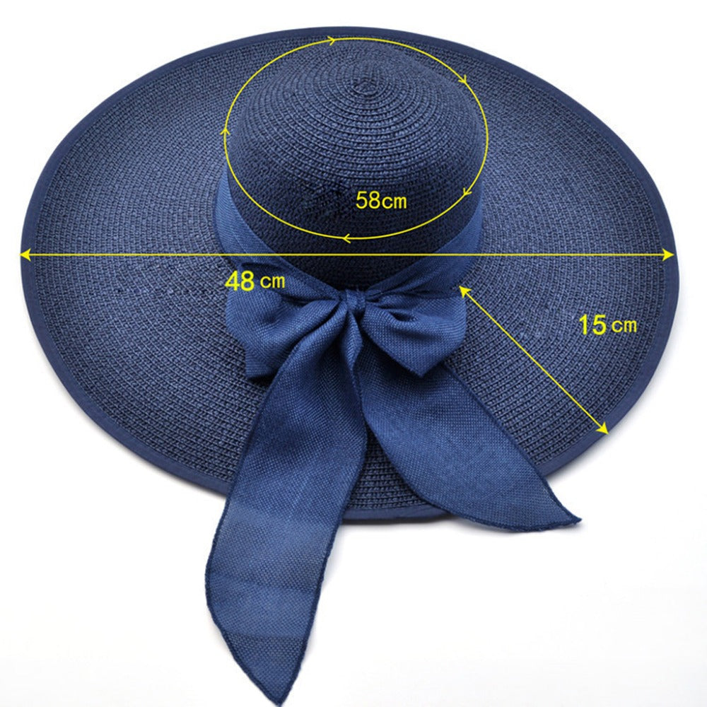Large Brim Straw Sun Hat  with Bow knot