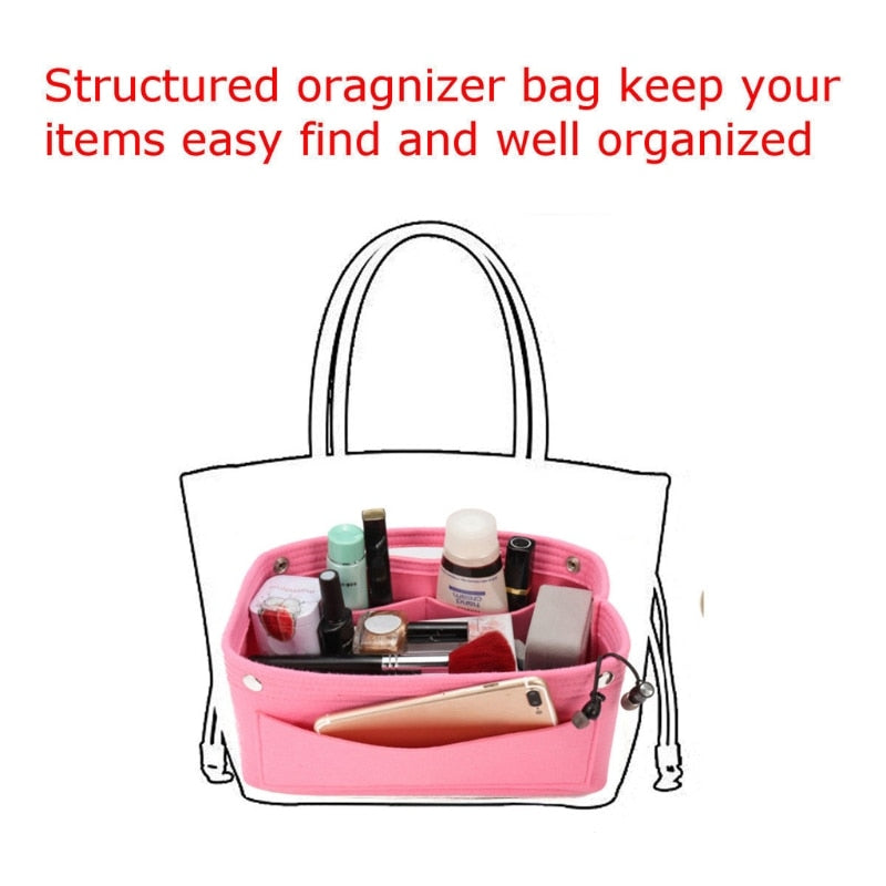 Multi-function Handbag Cosmetic Organizer Purse Insert Bag Felt Fabric Storage Pouch Case