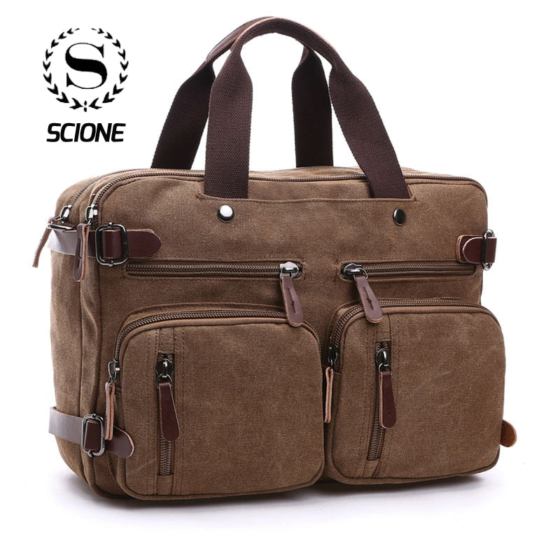 Urban Style Convertible Canvas Travel Bag (Messenger / Backpack / Briefcase )