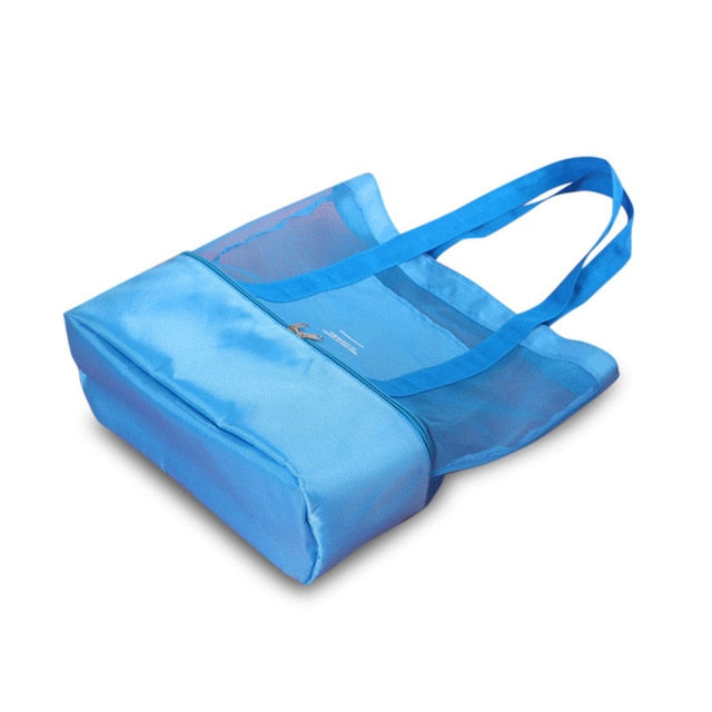 High Capacity Mesh Picnic / Beach Bag With Insulated Storage Pouch