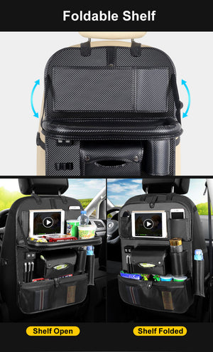 (4 USB) Vegan Leather Rear Car Seat Organizer With Optional Foldable Shelf