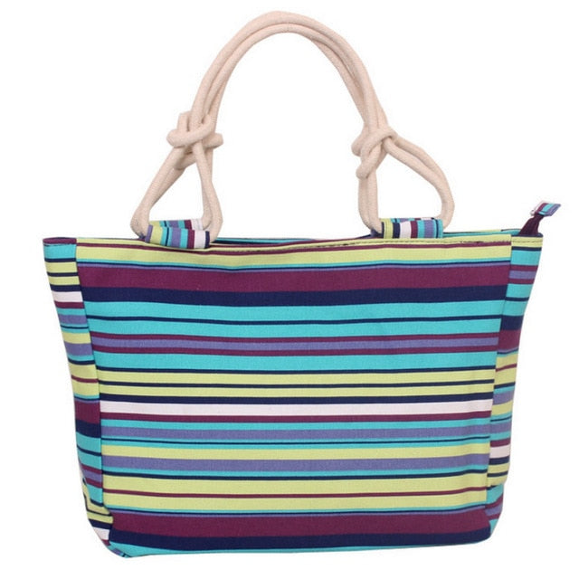 Women's Folding Large Size Canvas Tote / Beach Bag