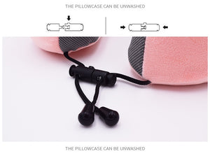 100% Memory Foam Neck Pillow with Unique Cell Phone Pocket to Listen to Favorite Tunes