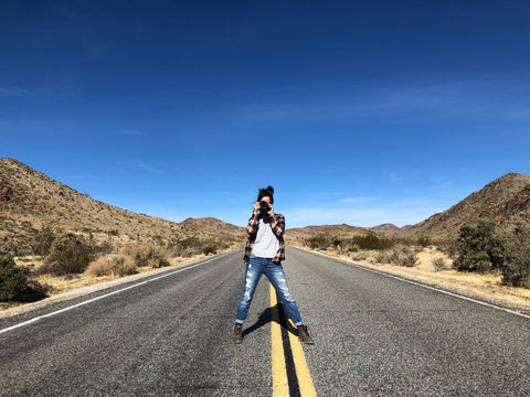 Leslie photographing in Joshua Tree