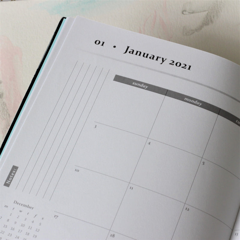 2021 Planner and Notebook - Monthly calendar spreads start September 2020 and ends December 2021