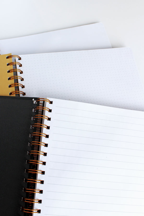 Large spiral notebook inner pages, lined, dotted and blank