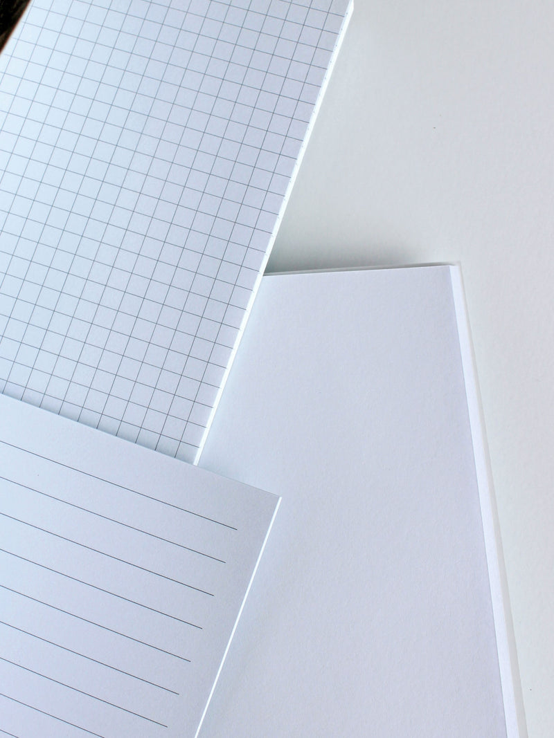 Set of B5 notebooks inner pages, grid, lined, blank