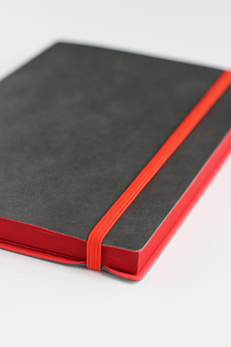 Bullet journal with elastic closure, vegan leather - charcoal and red accents