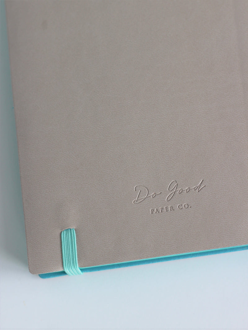 Bullet journal - grey with mint, back cover with Do Good Paper Co. logo