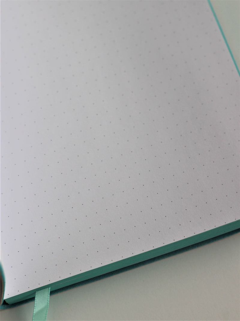 Bullet journal - grey with mint, dotted inside pages