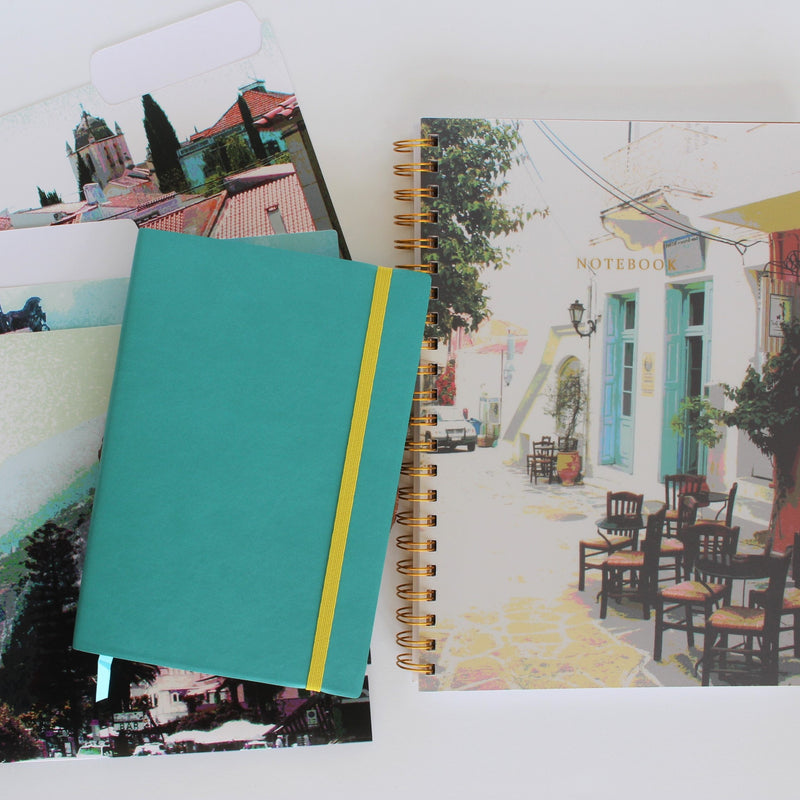 Mediterranean Vibes notebook collection - large spiral notebook, bullet journal, file folders