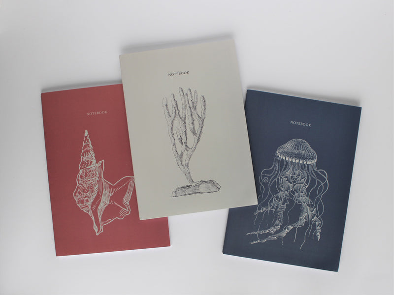 Set of 3 Medium Notebooks - Draw'n to the Sea collection