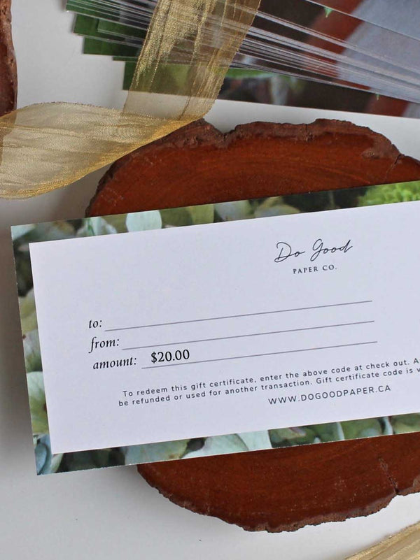 Do Good Paper Co. gift certificate - Twenty dollars ($20) for paper stationery goods