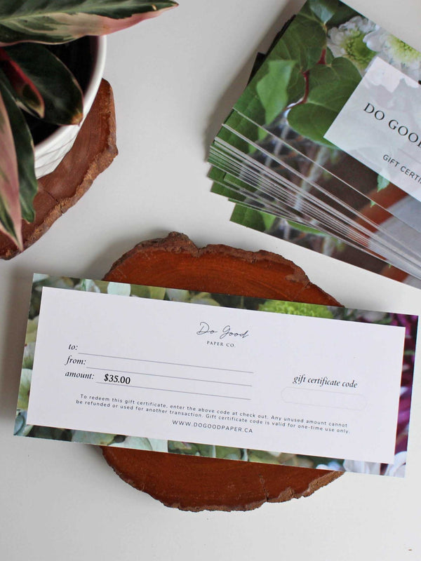 Do Good Paper Co. gift certificate - Thirty-five dollars ($35) for paper stationery goods