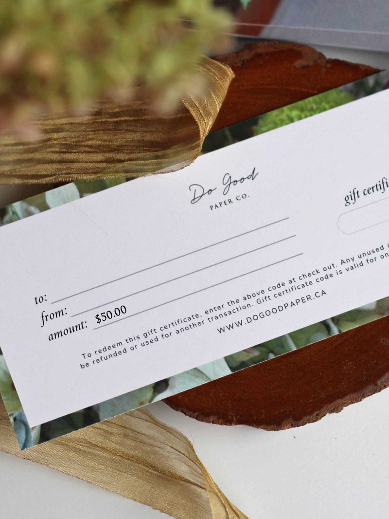 Do Good Paper Co. gift certificate - Fifty dollars ($50) for paper stationery goods
