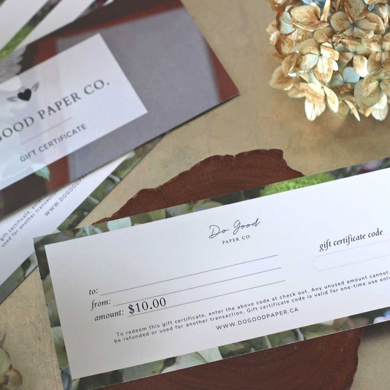 $10 Gift Certificate for Do Good Paper Co. Canadian paper stationery products