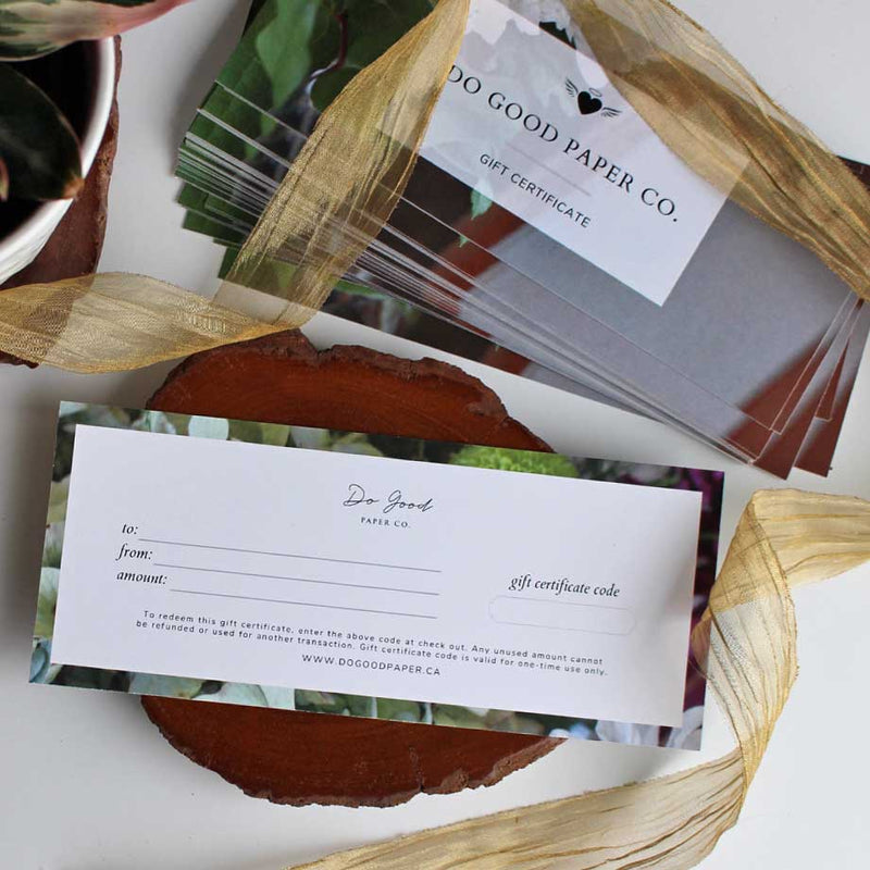 Gift certificate for Do Good Paper Co. stationery