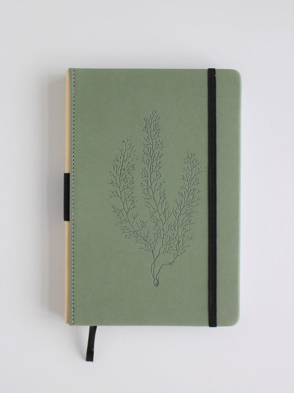 Leatherette journal - Draw'n to the Sea collection, sea fir on green cover