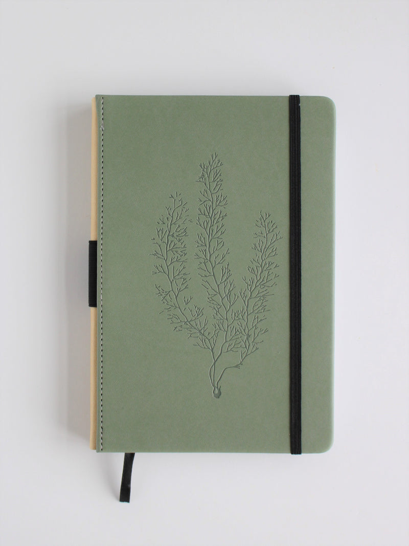 Leatherette Journal with sea fir design, vegan leather