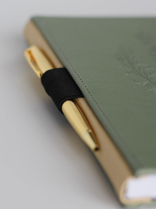 Leatherette journal - Draw'n to the Sea collection, black elastic pen loop