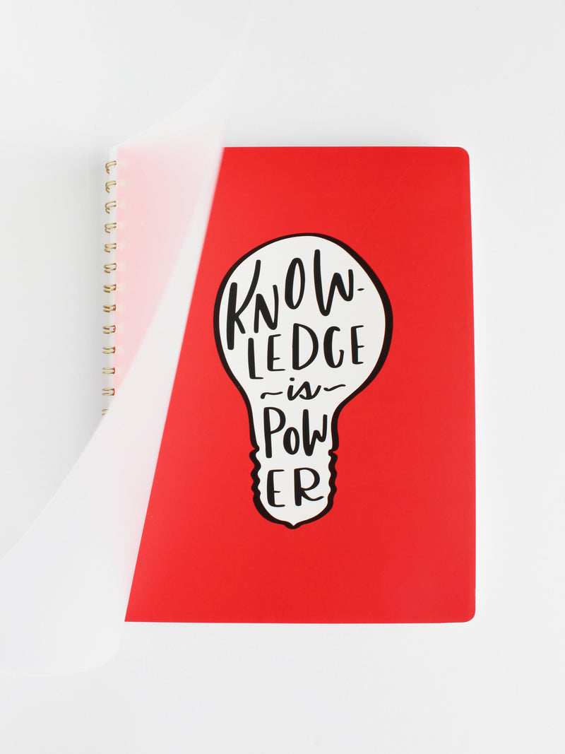Large spiral flexible plastic cover notebook, Knowledge is Power collection