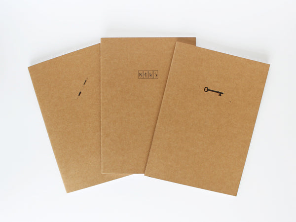 Set of 3 medium kraft cover notebooks - Knowledge is Power collection